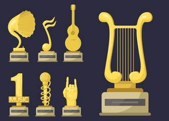 Gold rock star trophy music notes best entertainment win achievement clef and sound shiny golden yellow melody success prize pedestal victory vector illustration.