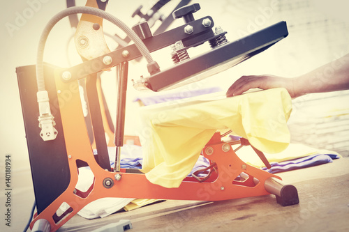 Preparing t-shirt for printing in the silk screen printing