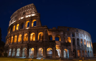 Colosseum in Rome, Italy, illuminated at night, isolated