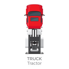 Truck Tractor on Red Car service Transport Item