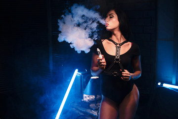vapor concept,sexy woman in lingerie vaping Electronic hookah