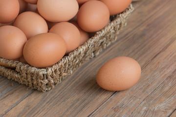 Egg on wooden table ,Chicken Egg