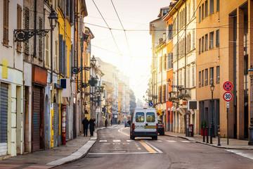 Old street in Parma, Emilia-Romagna, Italy.