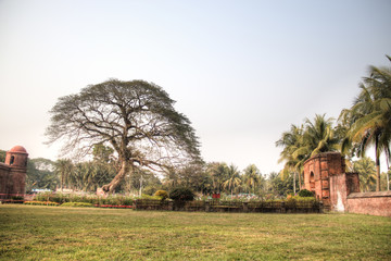 Shait Gumbad Mosque in Bagerhat, Bangladesh, built in 1459 by Khan Jahan Ali. This mosque is also called the 60 dome mosque