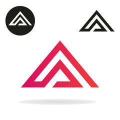Triangle logo isolated on white background. Abstract letter A. Minimal logo design. Line art icon. Vector set