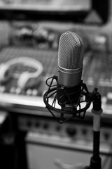 Studio microphone close-up in black and white