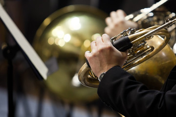 French horn in the hands of a musician in the orchestra closeup in dark colors