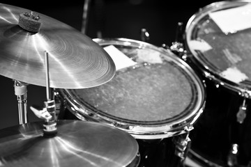 Wall Mural - Detail of a drum kit in black and white
