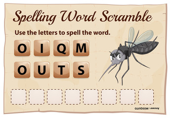 Spelling word scramble game with word mosquito