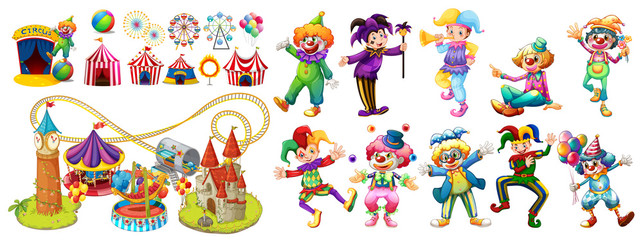 Circus clowns and many rides Wall mural