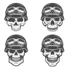 Set of racer skulls isolated on white background. Design elements for logo, label, emblem, poster, t-shirt. Vector illustration.