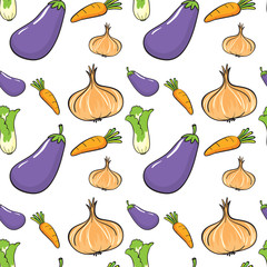 Seamless background with many vegetables