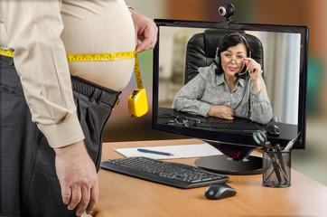 Fat businessman asks telehealth dietitian to help him