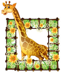 Giraffe and flower frame