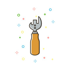 Bottle opener color thin line icon.Vector illustration