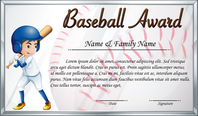 Certificate template for baseball award with baseball player background