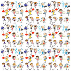 Seamless background with kids exercise