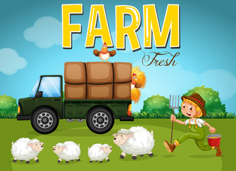 Farm scene with farmer and sheeps