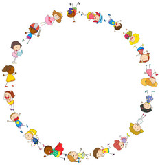 Border template with happy kids in circle