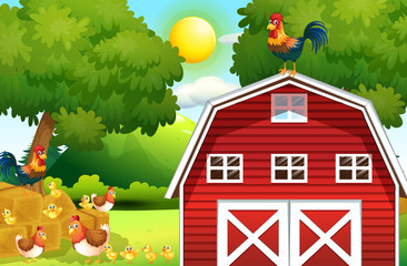 Farm scene with chickens on the barn