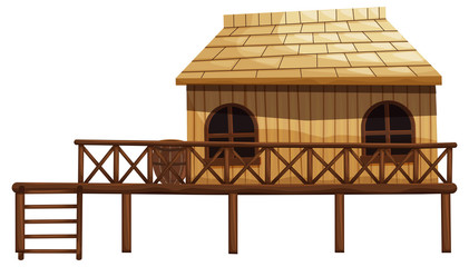 Wooden hut with ladder