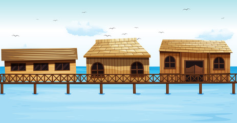 Three vacation houses on water
