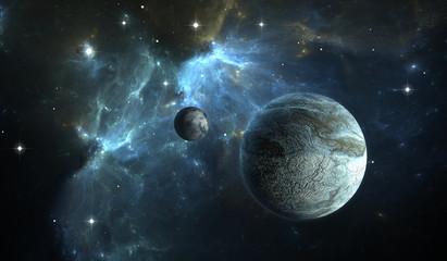 Extrasolar planet. Stone Planet with moon on background nebula.
