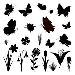 Schmetterlinge Blumen Frühling Silhouette Set schwarz
