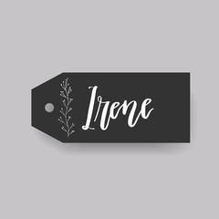 Common female first name Irene on a tag. Hand drawn calligraphy. Wedding typography element.