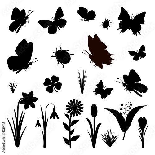 schmetterlinge blumen fr hling silhouette set schwarz. Black Bedroom Furniture Sets. Home Design Ideas