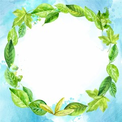Round frame made of various leaves in watercolor. Hand-painted design elements. blue background