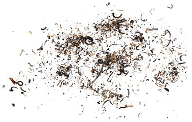 pile scrap metal shavings isolated on white background, texture, top view