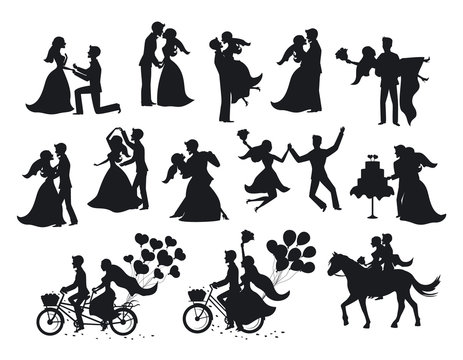 wedding couple, bride and groom silhouette set