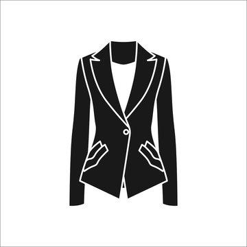 Women blazer or jacket simple silhouette icon on background