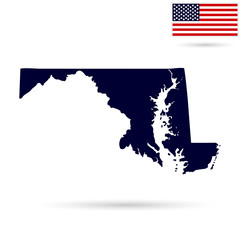 Map of the U.S. state  Maryland on a white background. American flag