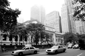 Public library New York in black and white photo