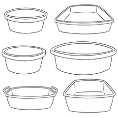 vector set of plastic basin