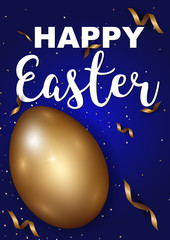 Easter eggs gold with confetti gold and dark blue colors free space place for text