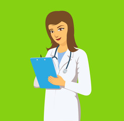 Girl doctor in a medical coat. Smiling female doctor with a folder in her hands. Woman doctor character cartoon style. vector stock.