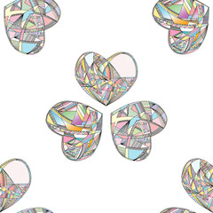 Hearts vector seamless pattern. Hand drawn stylized love background.