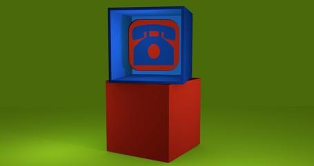 3d-Illustration, Würfel mit symbol für Telefon