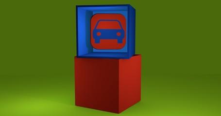 3d-Illustration, Würfel mit Symbol für Auto