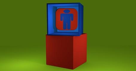 3d-Illustration, Würfel mit Symbol WC-Mann