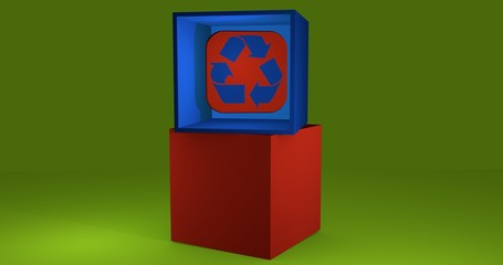3d-Illustration, Würfel mit Recycling Logo