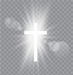 Religioush three  crosses with sun rays  transparent background