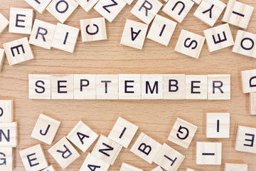 September words with wooden blocks