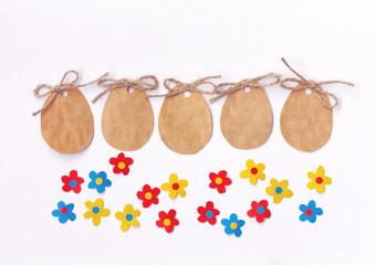 Easter blank paper label, eggs shape, colorful applique flowers