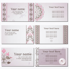 Set of six horizontal business cards. Vintage pattern in modern style with cyclamen plants and cicadas. Old paper, strips and stains. Complied with the standard sizes.