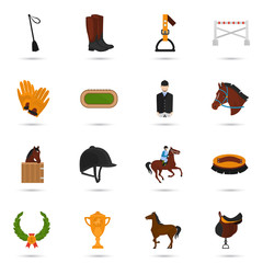 Set of horse riding color flat icons for web and mobile design