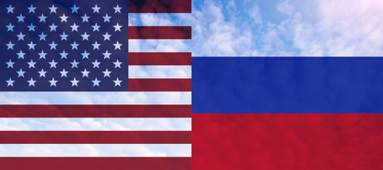 United flags of Russia and America